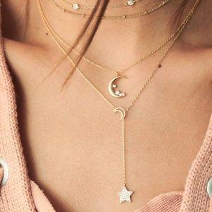 Moon Star Shape Design Clear Crystal Stone chain